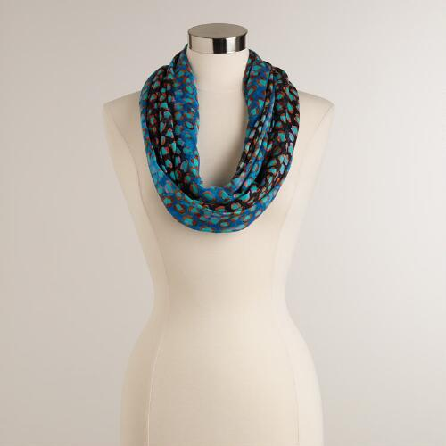 Blue, Turquoise and Orange Dot Infinity Scarf