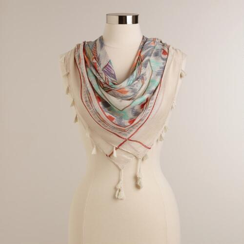 Brush Ikat Square Scarf with Tassels