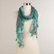 Mint and Gray Floral Scarf with Tassels
