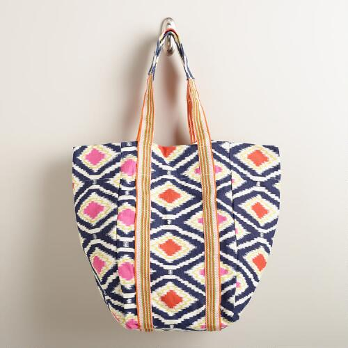 Orange and Blue Ikat Tote Bag