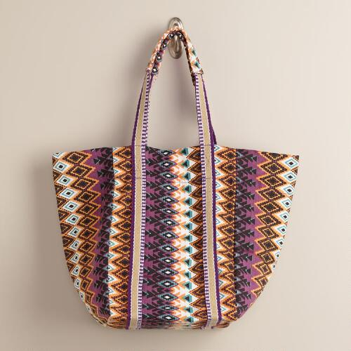 Purple Ikat Tote Bag