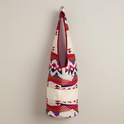 Cream and Red Woven Hobo Bag