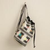 Black and Cream Multicolored 1-Strap Backpack