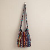Multicolored Woven Cross-Body Hobo Bag