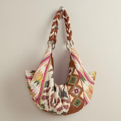 Cream Ikat Hobo Bag