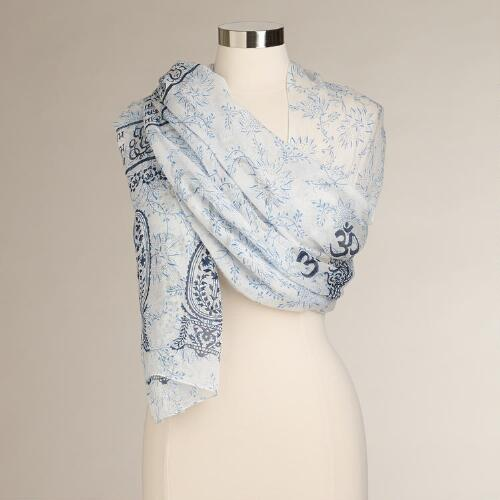White, Blue and Navy Prayer Shawl