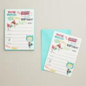 Birthday Heroes Party Invitations, Set of 8