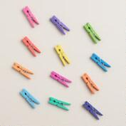 Mini Rainbow Clothespin Clips, 12-Pack