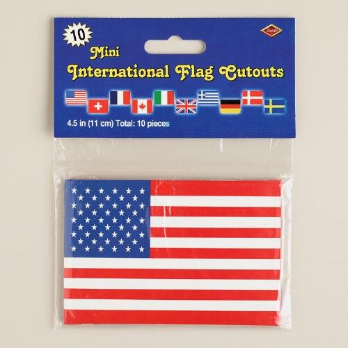 Mini International Flag Cutouts, 10-Pack
