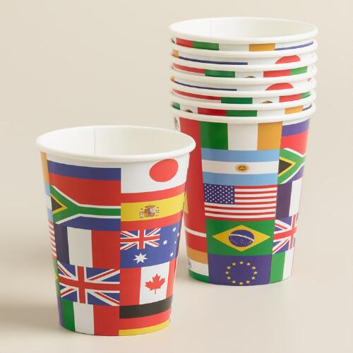 International Flag Paper Cups, 8-Pack