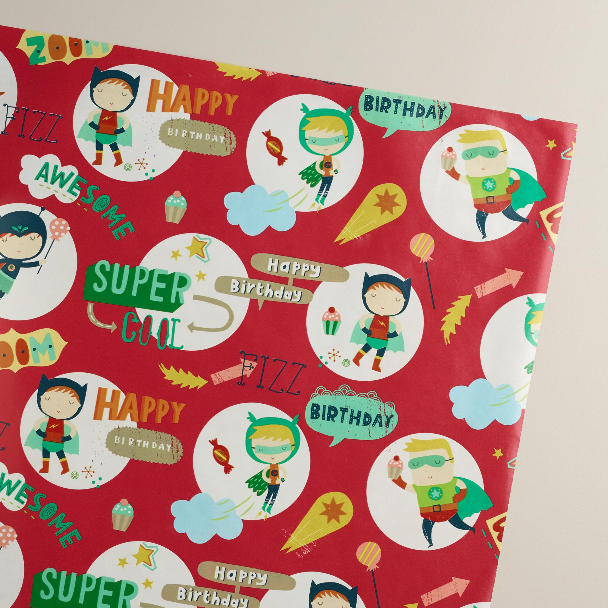 Red Birthday Heroes Wrapping Paper Roll | World Market