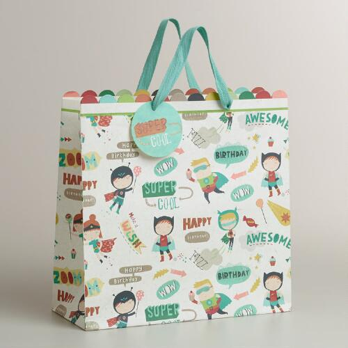 Large White Birthday Heroes Gift Bag