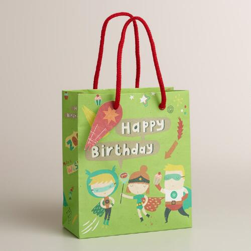 Small Green Birthday Heroes Gift Bag