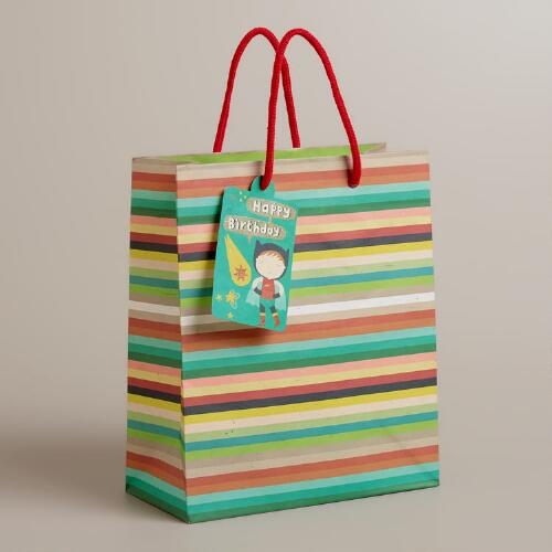 Medium Stripe Birthday Heroes Gift Bag