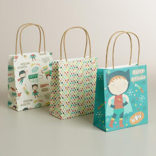 Small Birthday Heroes Gift Bags, 3-Pack