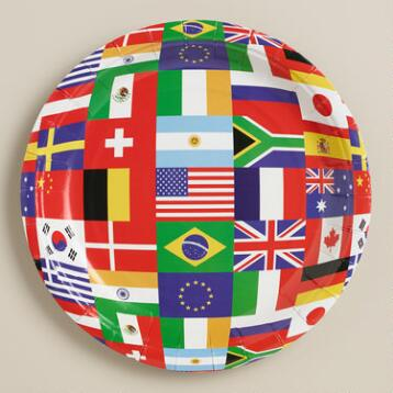 International Flag Paper Plates, 8-Pack