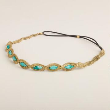 Turquoise and Gold Chain Beaded Elastic Headband