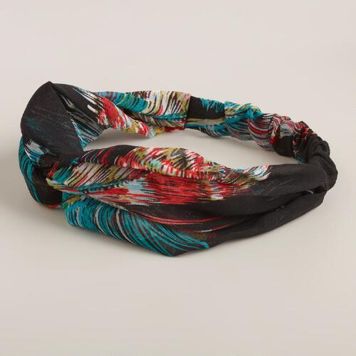 Feather Print Turban Knot Headband