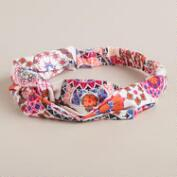 Pink and Orange Mosaic Turban Knot Headband