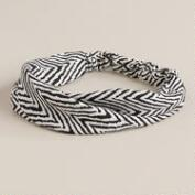 Black and Ivory Chevron Crisscross Turban