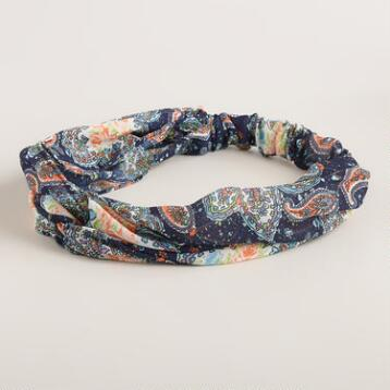Teal and Gray Paisley Turban Knot Headband