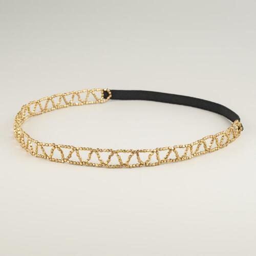 Gold Zigzag Stretch Headband