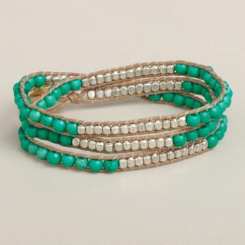 Turquoise Bead Friendship Wrap Bracelet