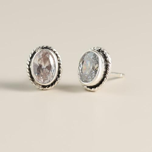 Clear Crystal and Silver Round Stud Earrings