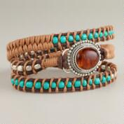Amber and Turquoise Wrap Bracelet
