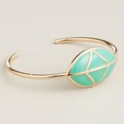 Gold and Turquoise Geo Cuff Bracelet