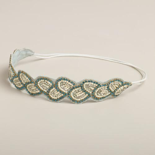 Blue and Ivory Beaded Leaf Headband