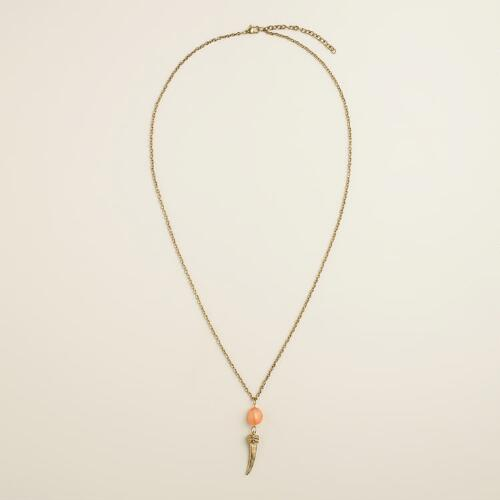Coral Stone Horn Pendant Necklace
