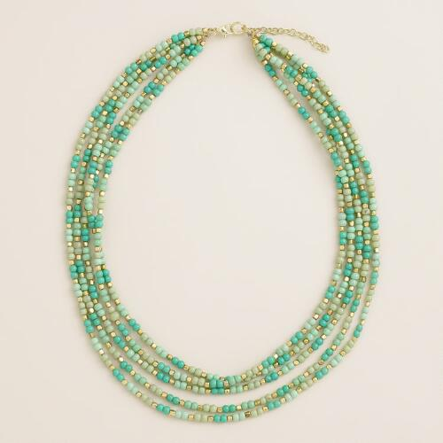 Turquoise and Mint Bead Multi-Strand Necklace