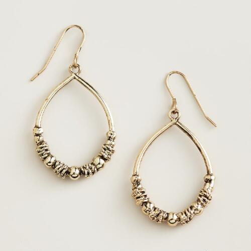 Gold  Textured Teardrop Earrings