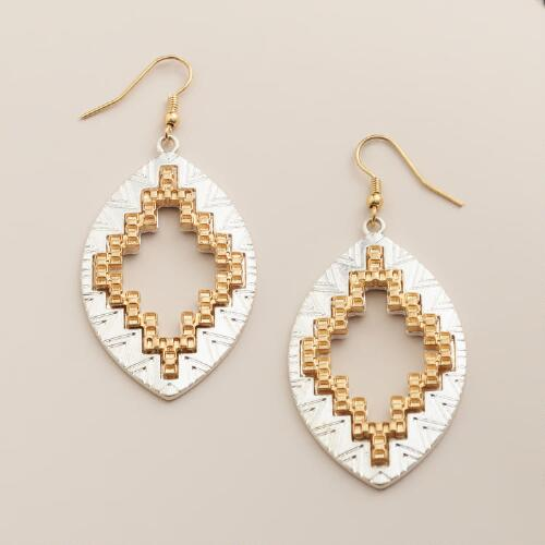 Gold and Silver Tribal Etched Drop Earrings