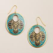 Blue Lotus Hoop Drop Earrings
