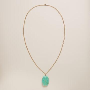 Turquoise and Gold Stone Pendant Necklace