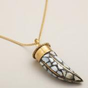 Mother of Pearl Horn Pendant Necklace