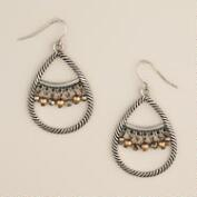 Silver Teardrop and Bead Dangle Earrings