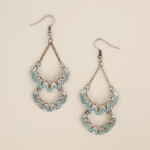Silver and Turquoise Double Crescent Earrings