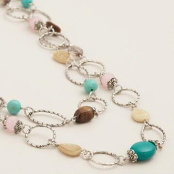 Silver Stationary Stones Necklace