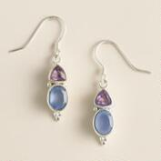 Blue Chalcedony and Amethyst Drop Earrings