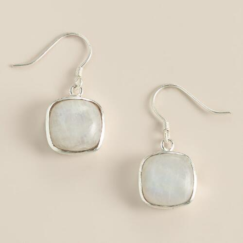 Silver Moonstone Square Drop Earrings