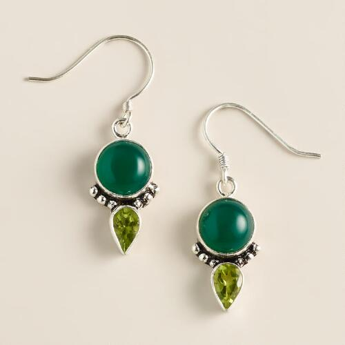 Green Onyx and Peridot Drop Earrings