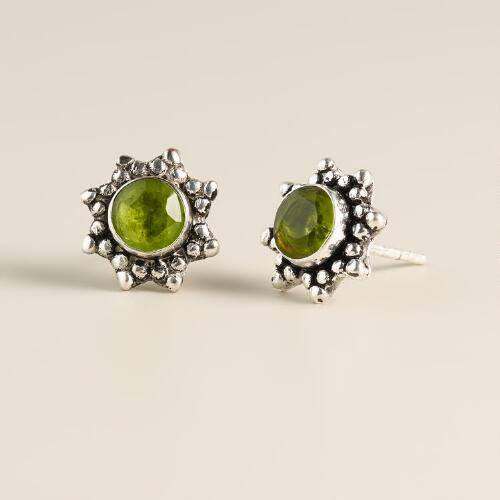 Round Silver Peridot Stud Earrings