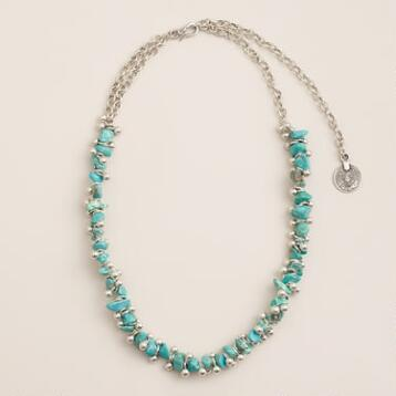 Long Silver Turquoise Bead Necklace