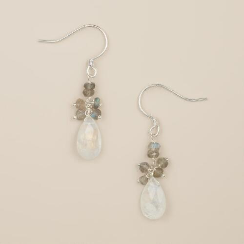 Silver Labradorite and Moonstone Dangle Earrings
