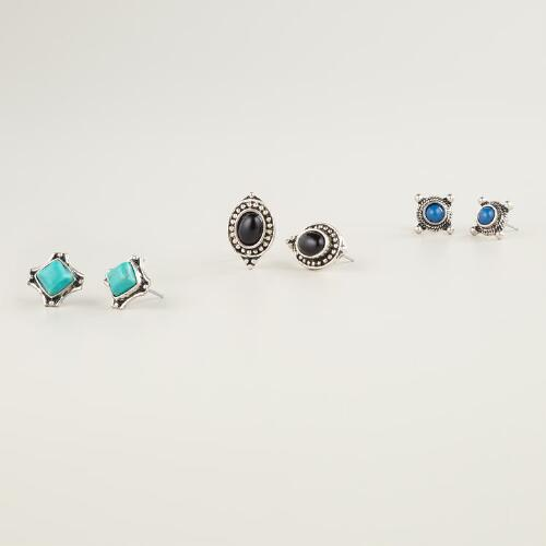 Tribal Trio Stud Earrings, Set of 3