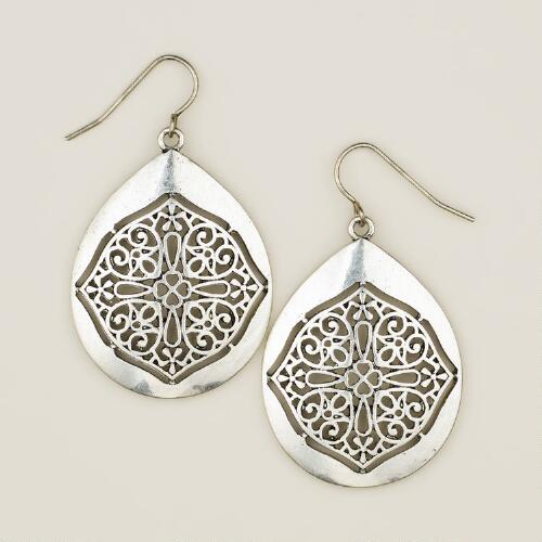 Silver Mosaic Drop Earrings