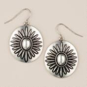 Round Silver Medallion Drop Earrings